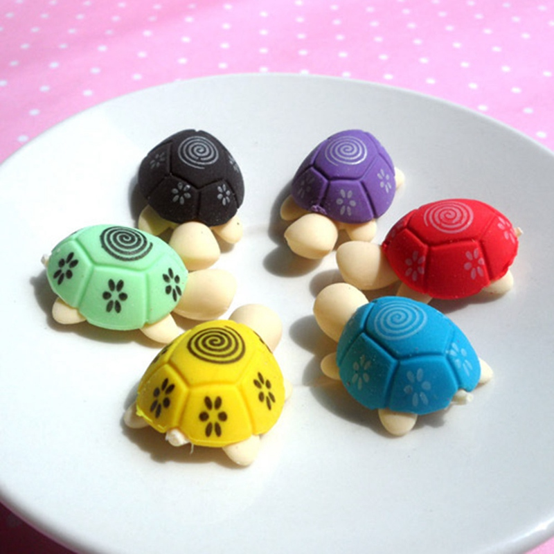 4Pcs/Lot Cartoon Lovely Little Turtle Eraser Colorful Stationery School Supplies Students Gifts Random Color