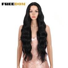 FREEDOM – perruque synthétique ondulée en Fiber de haute température, 34 pouces, fausse perruque avec raie au milieu, ombré rouge 613, pour femmes noires