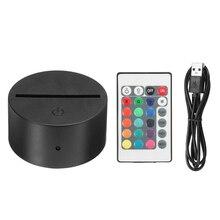 Современный 3D блокирующий базовый Ночной светильник, акриловый светодиодный usb-кабель, светильник, подарок на весу, пульт дистанционного управления