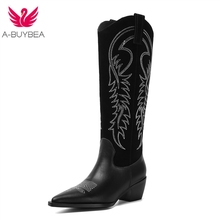 Western Cowboy Boots for Women Pointy Toe Cowgirl Square Heels Knee High Retro Shoes 2019 New womens boots