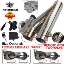 "Universal 2.5 universal//3 ""dupla válvula de escape elétrico cortar válvula tubo de escape kit silenciador com controle remoto sem fio PQY EMP86"