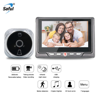 Saful 3000mAh Digital Peephole Video Camera Door Bell Video eye with TF Card Taking Photo Door Peephole Viewer Monitor for Home