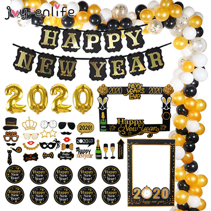 Christmas Decorations For Home Happy New Year Eve Party 2019 Decoration Black Banner Photo Booth Frame Props Navidad Nordica