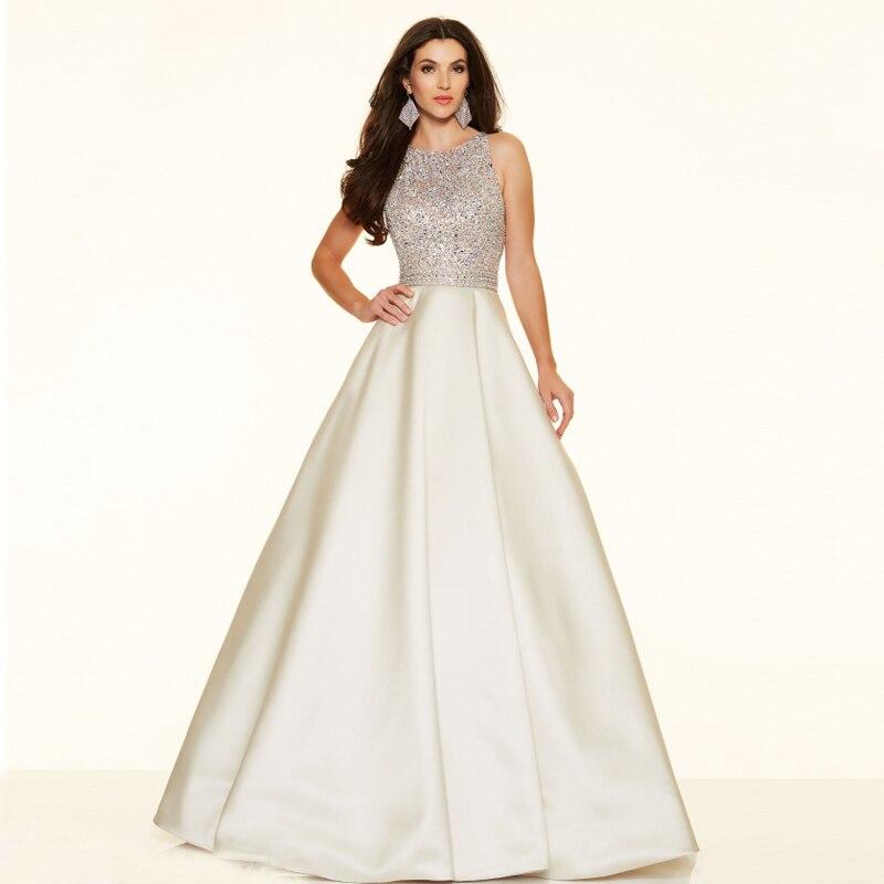 Robe De Soiree A Line Fashion Vestidos De Festa Longo Floor Length Beaded With Sequins Prom Satin Fabric Bridesmaid Dresses
