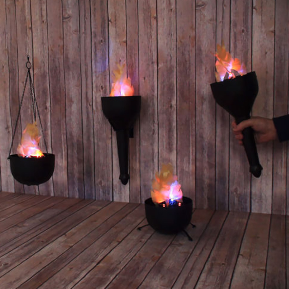 Desktop Electronic Flame Lamp Fake Fire Burning Torch Led Bonfire Decoration Halloween Handhold Hanging Party 4 In 1
