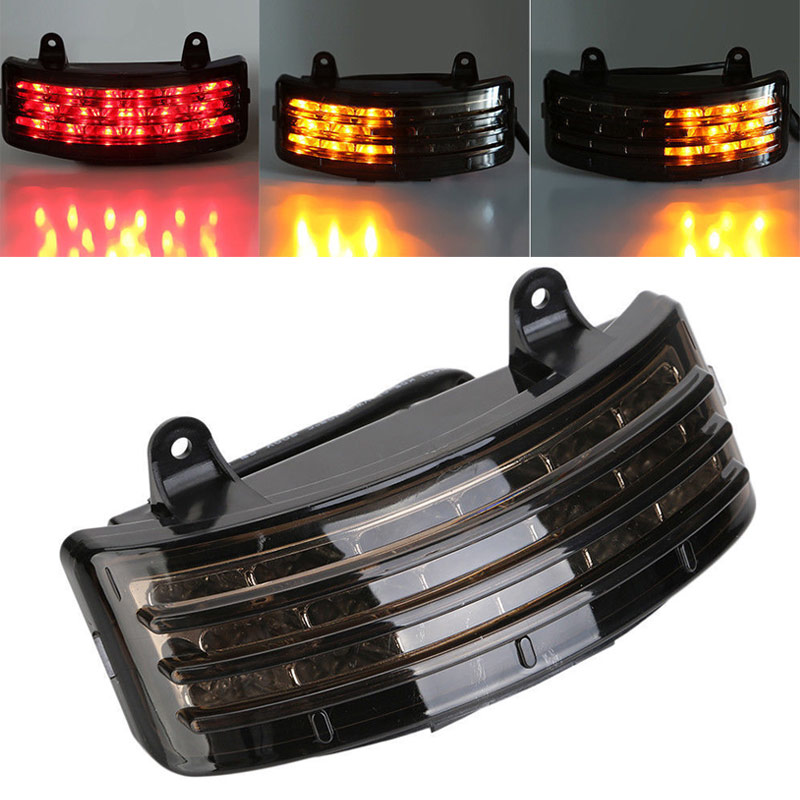 Motorcycle Tri-Bar LED Rear Tail Fender Tip Light Smoke Fit For Harley Road GlideStreet Glide EFI  for Harley Street Glide Motor