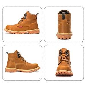 Image 5 - Ботинки на платформе с заклепками; Мужская обувь размера плюс; Модель 2020 года; Дизайнерские рабочие ботинки со стальным носком; Неразрушаемые ботинки