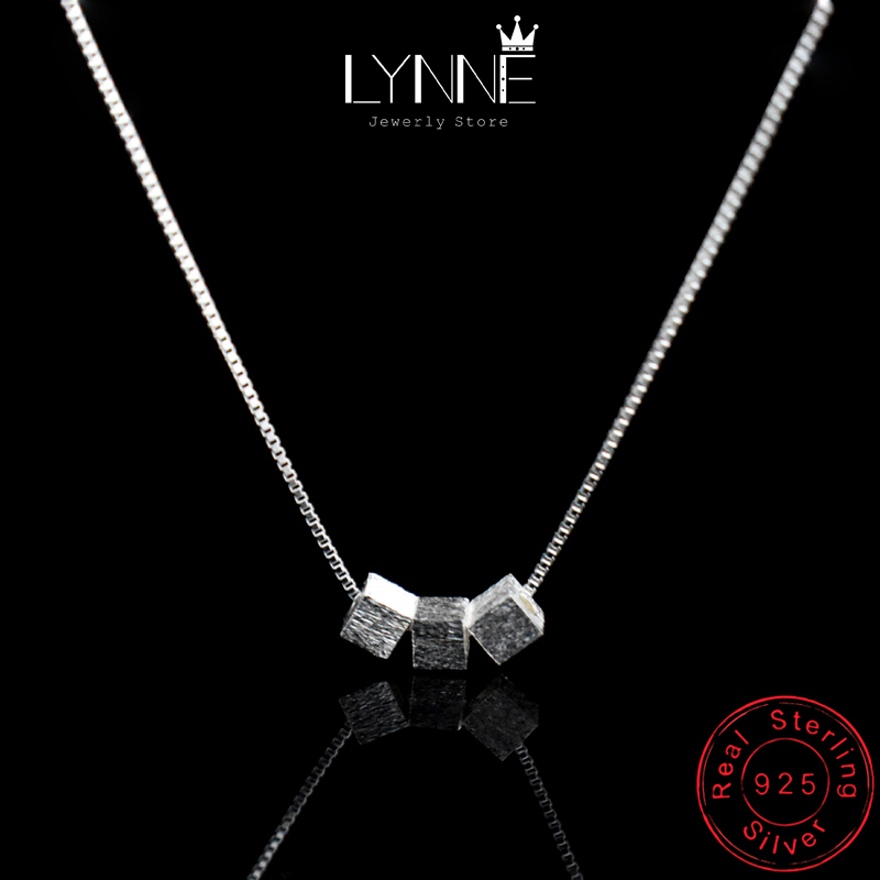 Fashion Elegant 925 Sterling Silver Square Pendant Necklace Three Square Beaded Chain Collarbone Necklace For Women Jewelry Gift
