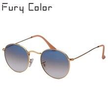 Echt Glas Objektiv UV400 Retro Runde sonnenbrille sonnenbrille männer frauen luxus designer marke feminine oculos de sol 3447