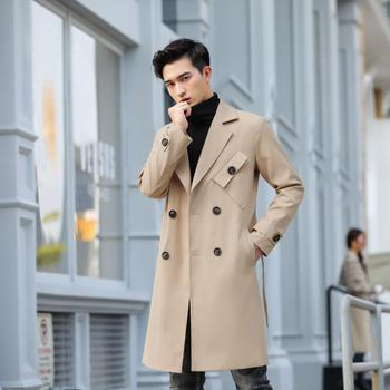 New Autumn 2020 British Style Windbreaker Solid Color Double Breasted Outerwear Male Mid-length Trench Coat Fashion Lapel Coat