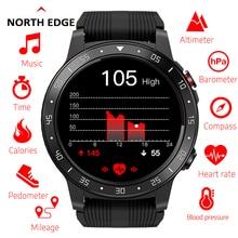 Northedge لتحديد المواقع ساعة ذكية تشغيل الرياضة ساعة بـ GPS مكالمة هاتفية بلوتوث الهاتف الذكي مقاوم للماء معدل ضربات القلب البوصلة الارتفاع على مدار الساعة