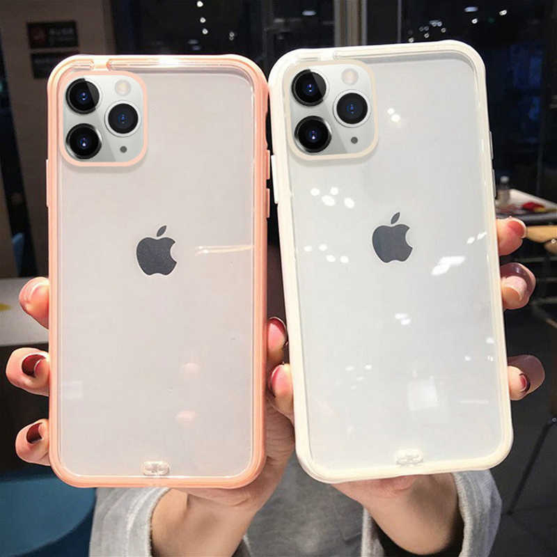 Lovebay Shockproof Transparan untuk iPhone 11 Pro X XR X MAX 8 7 6 6S Plus Jelas lembut Tpu Sederhana Plain PC Back Cover