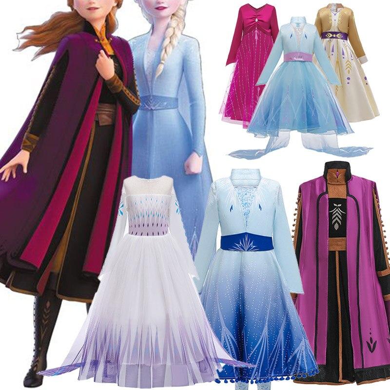 2 Anna Elsa Summer Girls Dress Kids Princess Dresses For Girls Costume Elegant Carnival Cosplay Party Dress Children Clothing