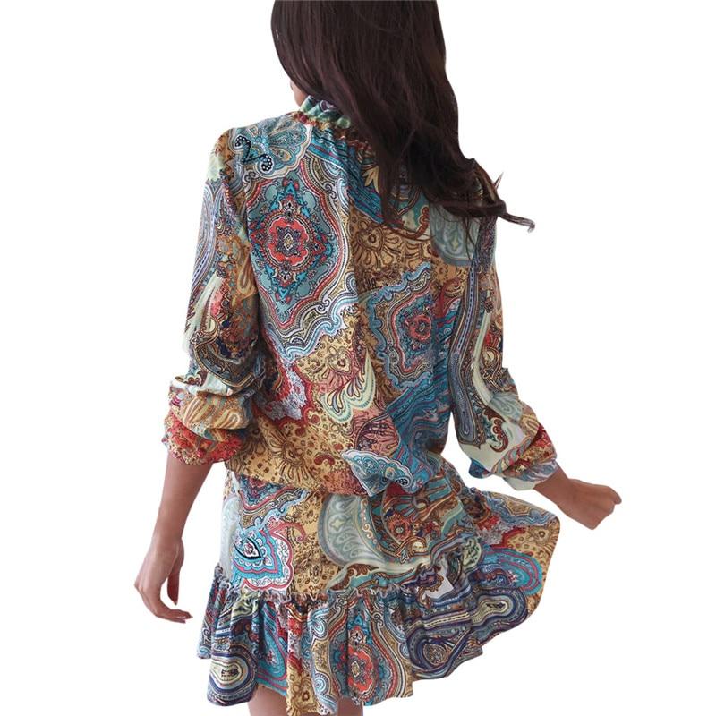 DORVIVON Boho Style Dress 2019 Spring Autumn Print Women Ruffles Dress Vintage O Neck Ladies Bohemian A Line Dresses Vestidos in Dresses from Women 39 s Clothing