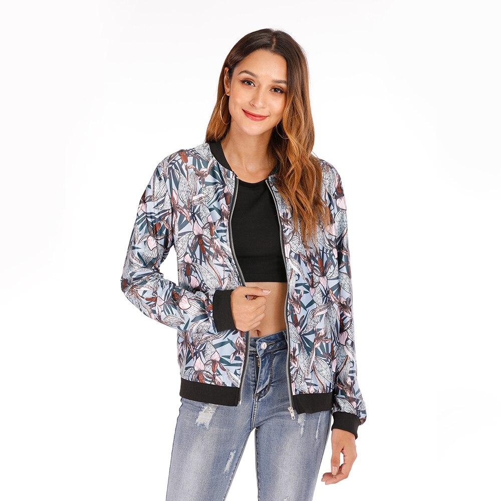 Autumn Women's Bomber   Jacket   Winter Thick Zipper Up Flower Print Coat Women Long Sleeve Pockets   Basic     Jackets   Coats Outwear