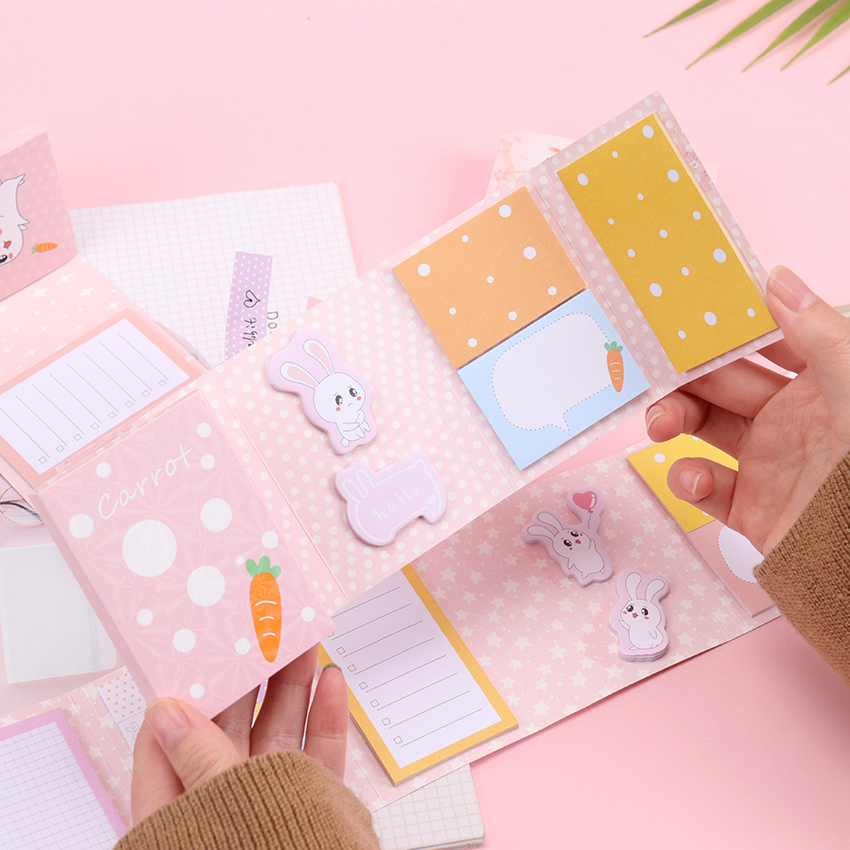 Kawaii Cherry Blossom Rabbit Folding Memo Pad N Times Sticky Notes To Do List Planner Memo Notepad Bookmark Stationery