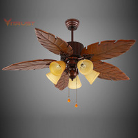 Vintage wooden ceiling fan engraving blades ceiling fan with light kits creative fan with lamp