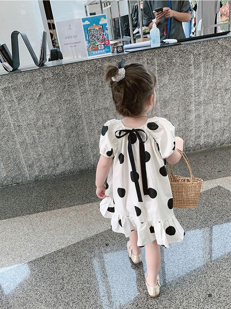 2021 Summer New Arrival Girls Fashion Dot Dress Kids Cotton Back Bow Dresses  Kids Dresses for Girls 2