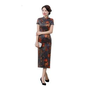 Image 5 - summer 2019 new high end silk cheongsam improved elegant long mulberry silk short sleeve cheongsam dress women Retro
