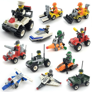 NEW City Patrol Police Construction Team Fire Fighting Truck Car Submarine Model Building Blocks Action Figure Toys For Children
