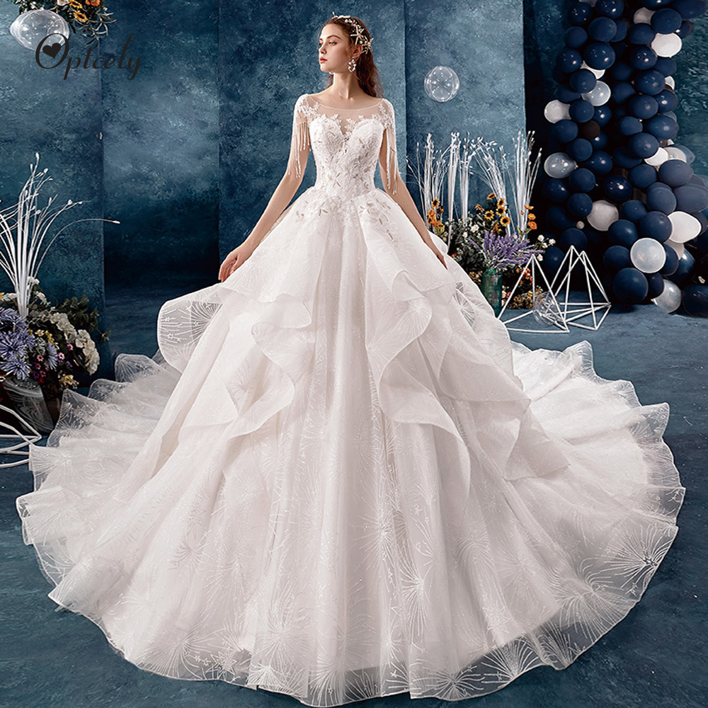 Optcely Fascinating O Neck Ball Gown Cap Sleeve Retro Wedding Dresses 2019 Lace Appliques Beading Long Train Gown Robe De SoireeWedding Dresses   -