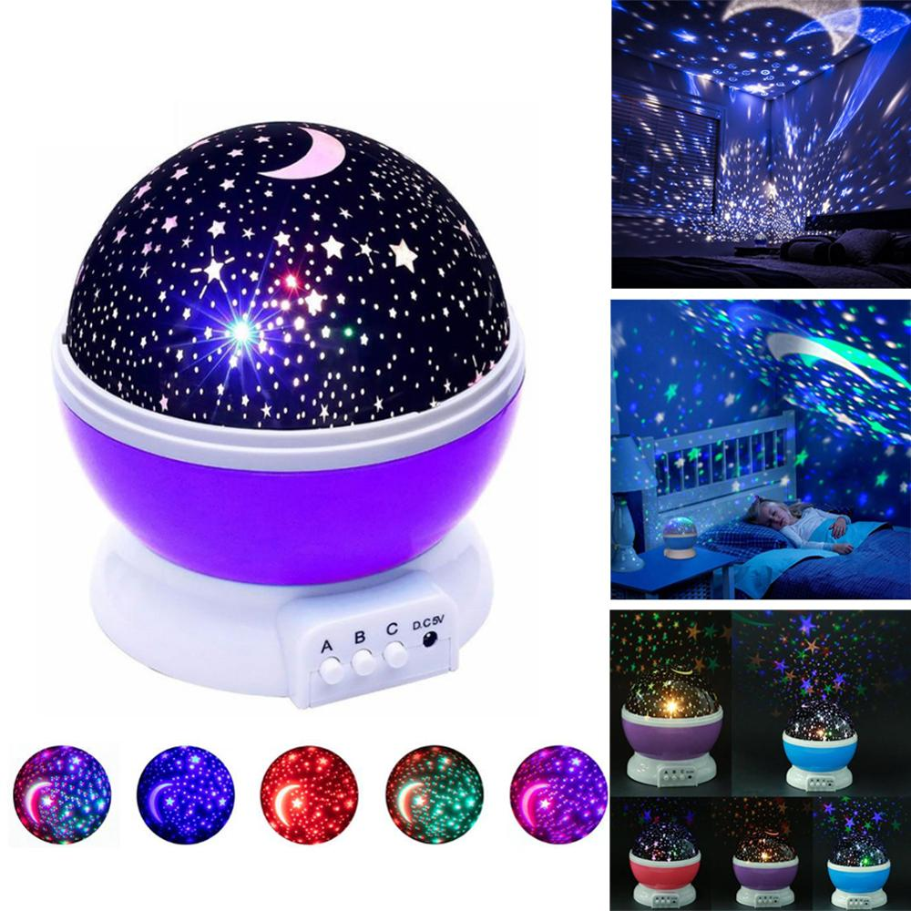 Starry Sky Rotatable Baby LED Night Light Projector Moon Lamp USB Child Bedroom Party Romantic Night Lighting Christmas Gift