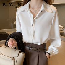 Ladies Shirts Buttons Spring Women's Blouses Long-Sleeve Blusa Office Loose Chiffon Female