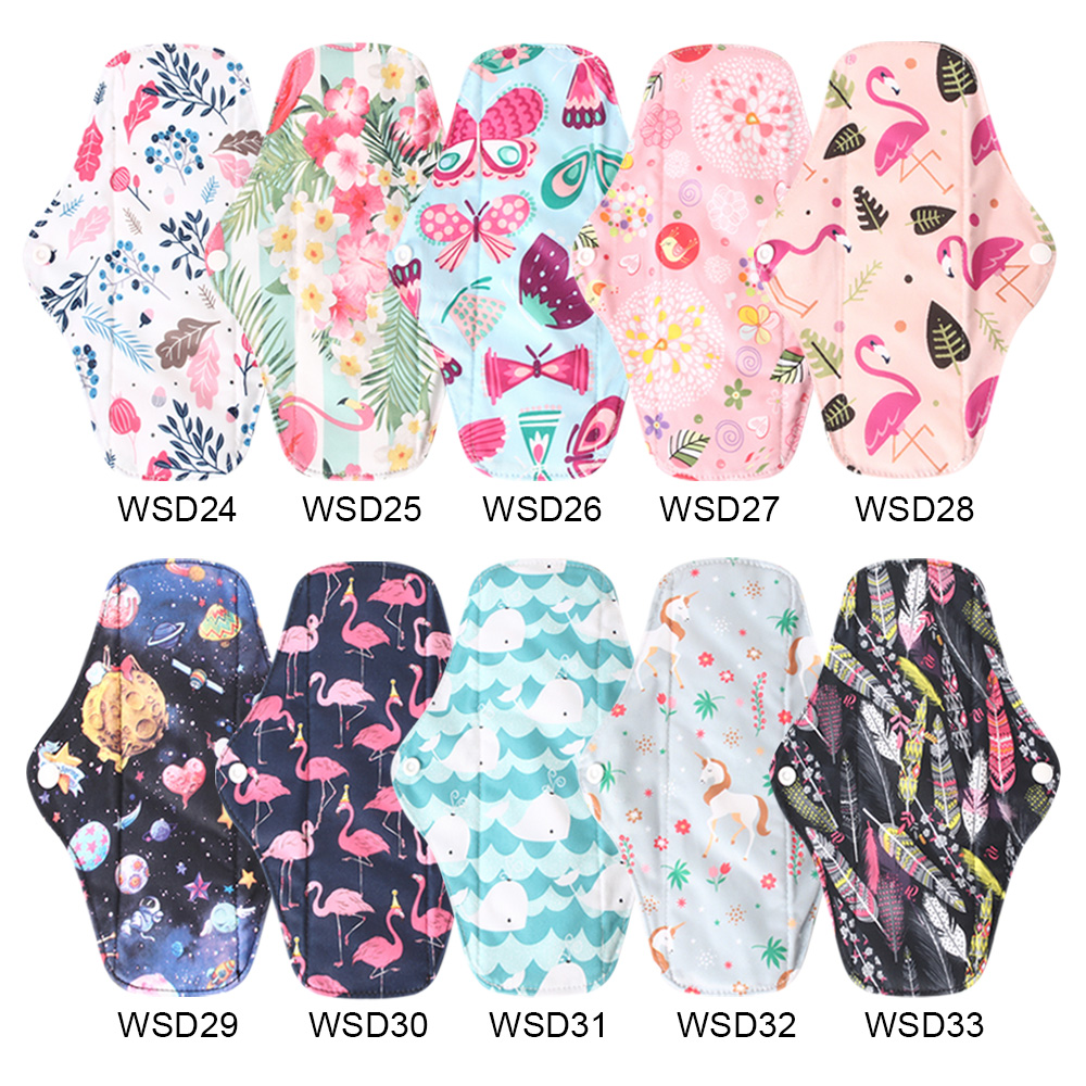 Ohbabyka Reusable Sanitary Pads Mama Bamboo Cloth Pads Washable Women Panty Liner Printed Cotton Menstrual Pads Size S M L