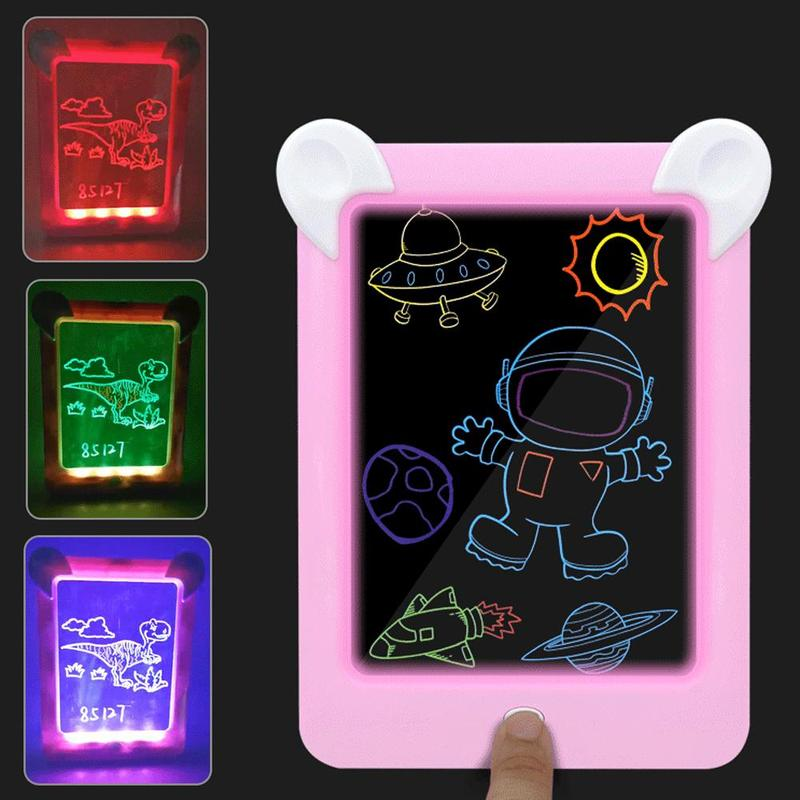3D Magic Drawing Pad Led Electronic Light Writing Message Handwriting Board Creative Art With Pen Children Painting Set Toys