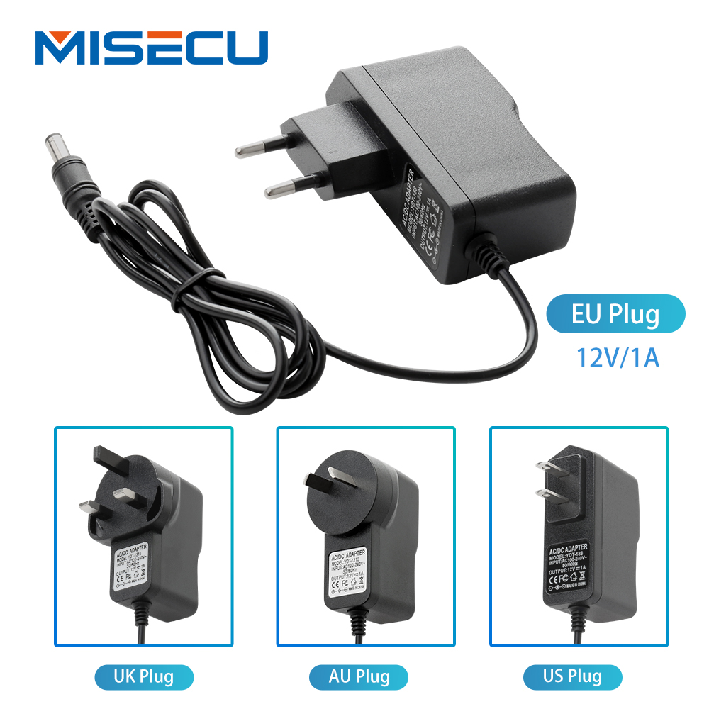 New AC100V-240V / DC12V 1A Output Power Adaptor 50/60HZ, Wall Charger DC 5.5mm X 2.1mm EU/AU/UK/US Plug For CCTV Camera Free