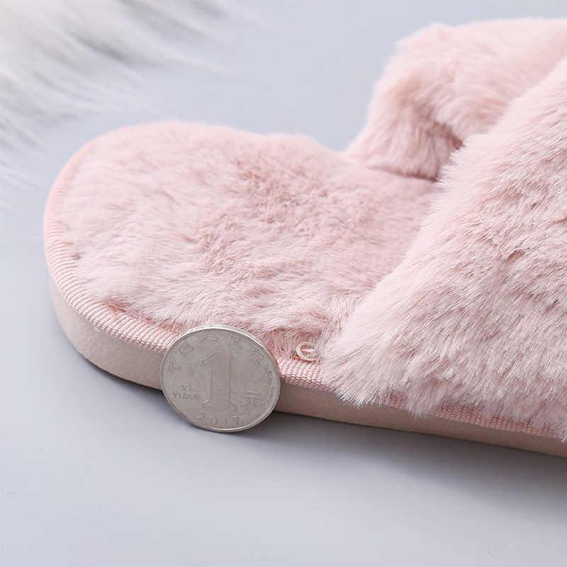 Invierno mujer cálido piel sintética casa zapatillas señoras Cruz suave peluche peludo femenino abierto dedo del pie Mujer Zapatos moda mujer deslizamientos