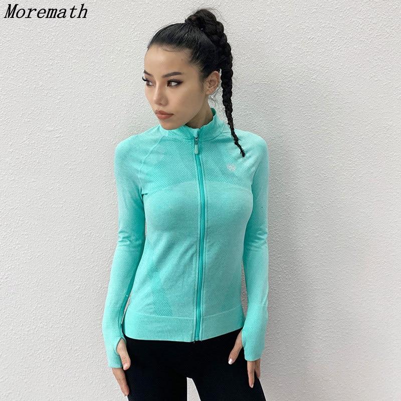 Morematch Women Running Jacket Thumb Hole Yoga Jacket Zipper Jacket Fitness Clothing Top Sport Gym Sportswear Sweatshirt