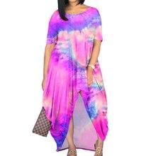 WAYES omen Maxi Dress 2021 Summer Floral Tie Dye Print Loose Long Dresses Short Sleeve O Neck Dress Vestidos Plus Size L-4XL