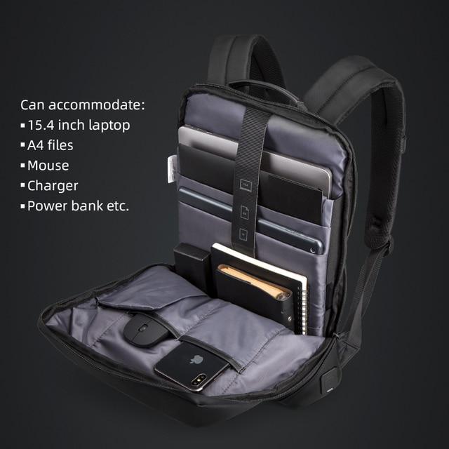 Kingsons magro computador portátil mochila homens 15.6 polegada trabalho de escritório homens mochila de negócios unisex preto ultraleve mochila fina 5