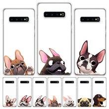 لطيف الحيوان الصلصال الكلب الكرتون البلدغ قضية الهاتف لسامسونج غالاكسي نوت 8 9 10 20 S7 S8 S9 S10 S10E S20 الترا J4 J6 J8 زائد لايت