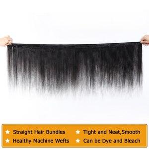 Image 4 - 32 30 дюймов прямые пряди волос с закрытием, натуральные кудрявые пучки волос пряди с фронтальным бразильским Реми 3 пряди с закрытием