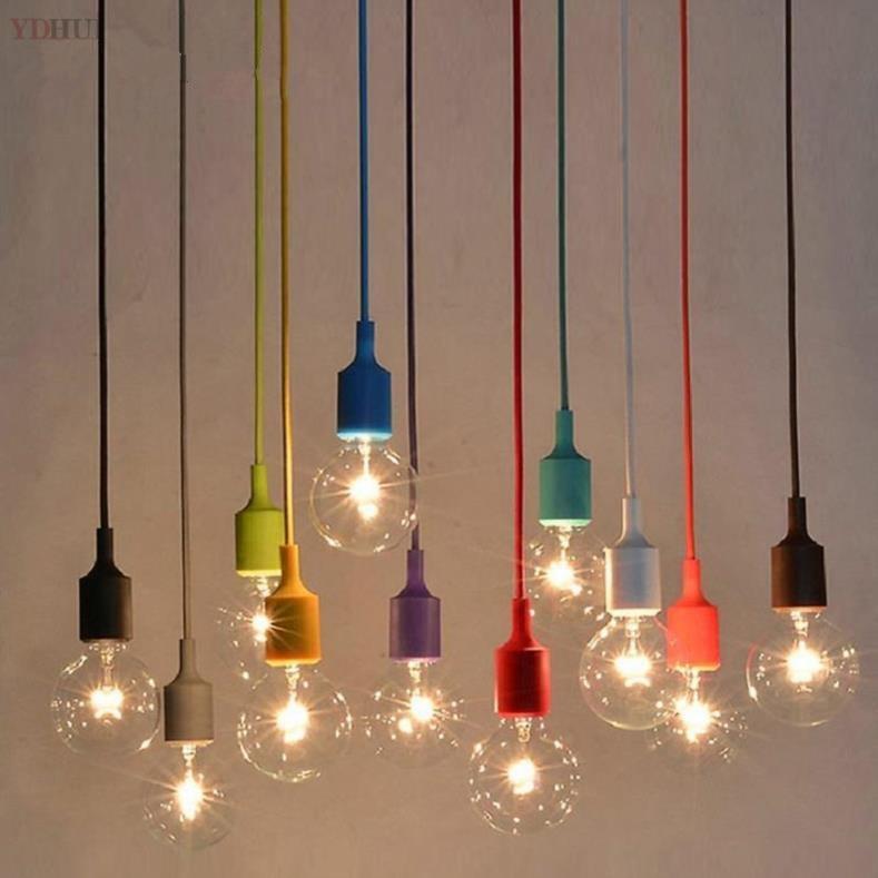 Colorful Pendant Lamp Modern Vintage Bar Restaurant Bedrooms Hanging Lamp Large Shopping Silica Gel  Art Pendant Light E27