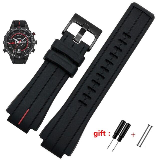 Bracelet de montre en caoutchouc haute quantité, 28x16mm, pour timex WATCHT2N720 T2N721 TW2T76300, noir, étanche en silicone