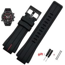 Pulseira de borracha da quantidade alta para timex watcht2n720 t2n721 tw2t76300 pulseira esportiva de silicone à prova d água preta 28*16mm