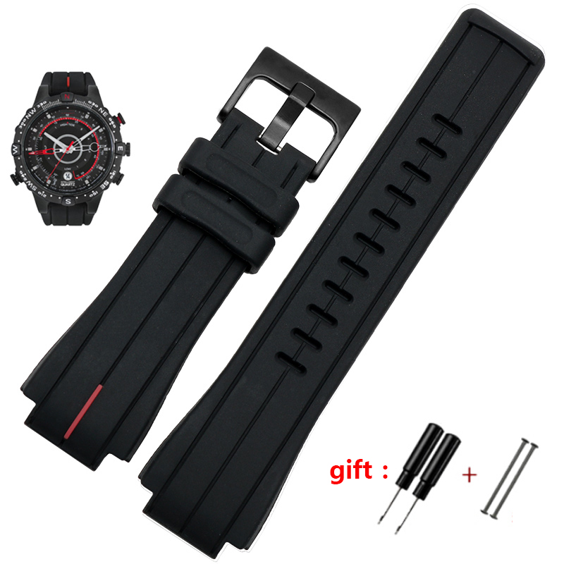 High Quantity Rubber Watchband For Timex WATCHT2N720 T2N721 TW2T76300 Black Waterproof Silicone Sports Strap 28*16mm