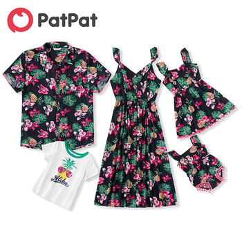 PatPat 2020 New Summer Mosaic Family Matching Pineapple Floral Tank Dresses Rompers Tops Outfits Look Sets