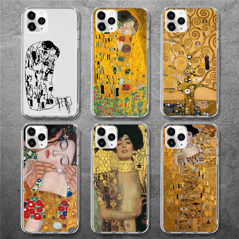 Lovebay Kiss by Gustav Klimt Design Phone Case For iPhone 6 6S 7 8 Plus X XR XS MAX Soft TPU Back Cover For iPhone 11 Pro Max