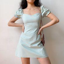 Verão azul verde simples casual bodycon mulher vestido gola quadrada de cintura alta elegante puff manga a linha sexy mini vestidos 2021