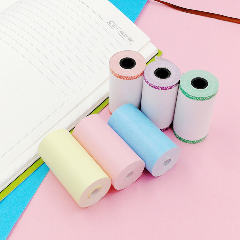 3 Roll Printable Sticker Paper Roll Direct Thermal Paper with Self-adhesive 57*30mm for PeriPage A6 Pocket Thermal Printer