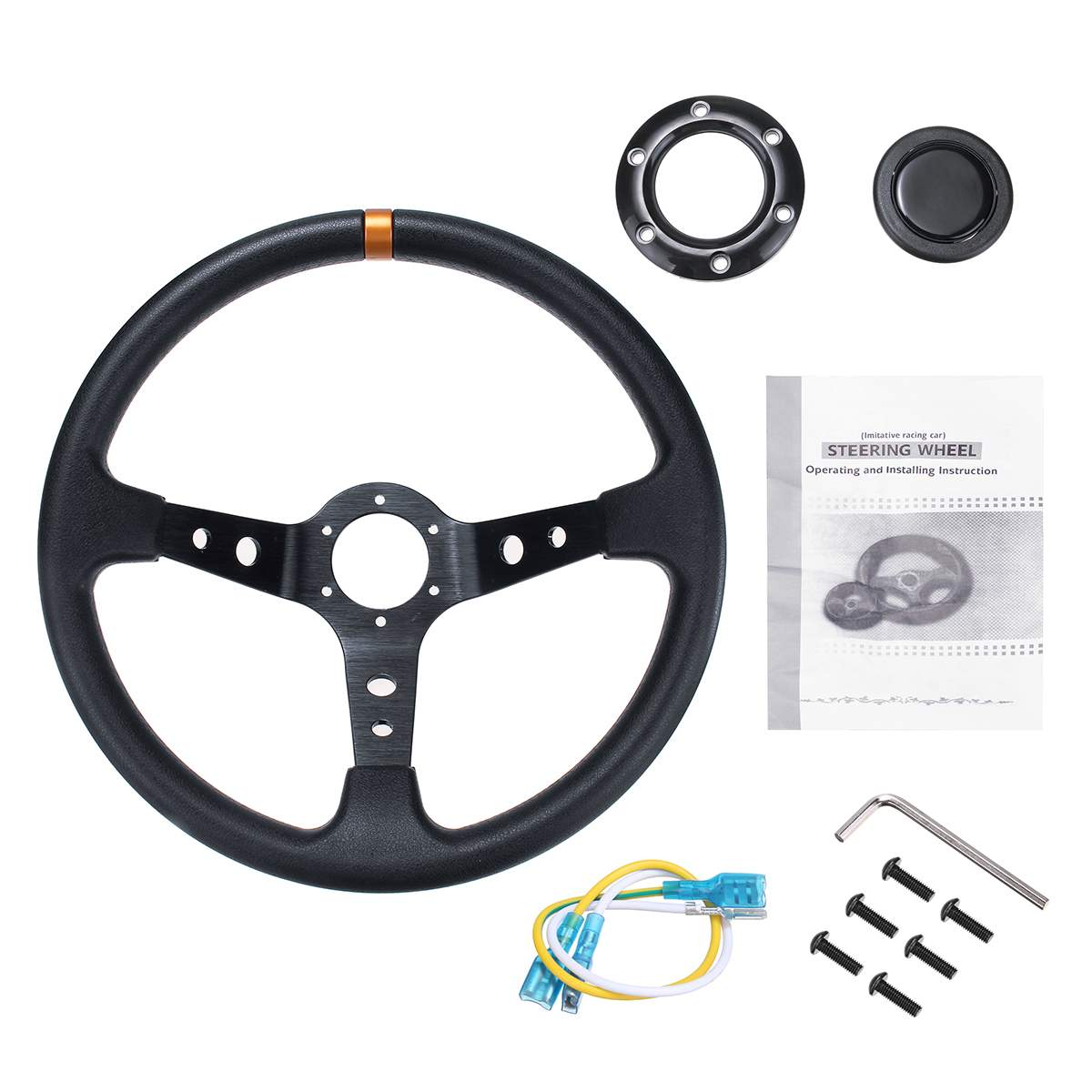 Universele 350 Mm 14 Inch Pu & Aluminium Stuurwiel Auto Sport Racing Steering Wheel Drifting Deep Dish Corn