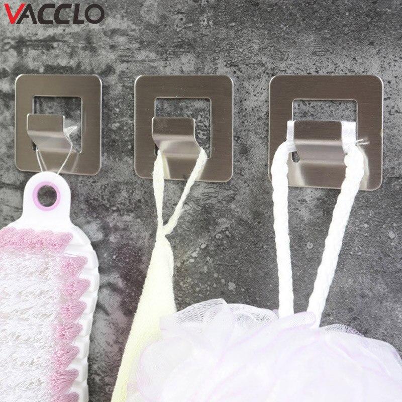 Vacclo 10pcs 304 Stainless Steel Storage Hook Wall Hooks Widened Non-marking Hook Bathroom Kitchen Towel Hanger Pot Mop Holder