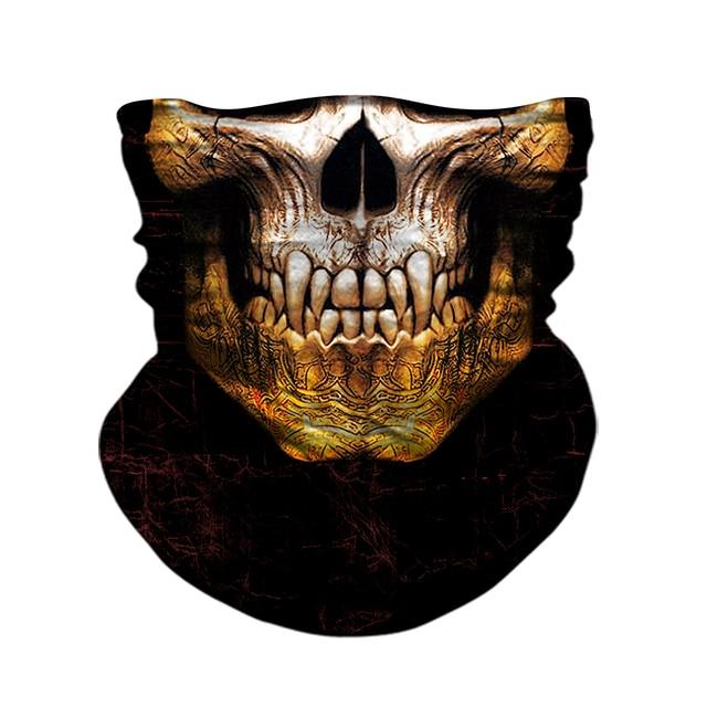 3D Skull Skeleton Balaclava Seamless Motorcycle Neck Face Shield Mask Scarf Bicycle Hunting Outdoor Anti-UV Bandana Headband 1