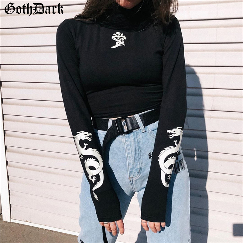 Goth Dark Black Print Longsleeve Gothic Female T-shirts Navel Holographic Vintage Fashion Autumn 2019 T-shirt Grunge Streetwear