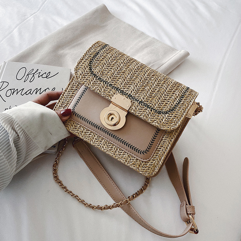 Summer  Straw Bags For Women 2020 Chain Crossbody Messenger Handbags Lady Beach Shoulder Bags Female Fashion Flap Bags
