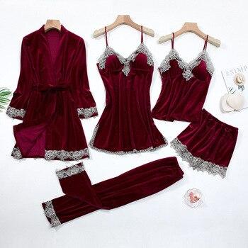 Sexy Lace Nightwear Pajamas Suit Intimate Lingerie Women Velour Sleep Set 5PCS Kimono Robe Velvet Soft Homewear Sleepwear